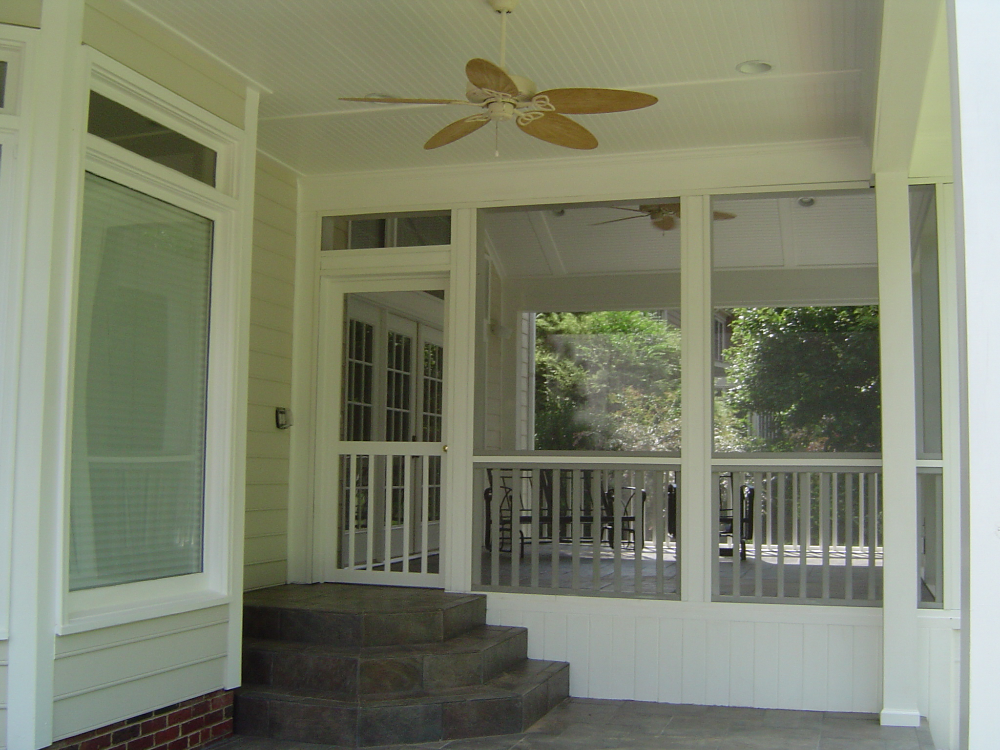 Concord nc screen porch sunroom room addition artisans for Gas fireplace screened porch