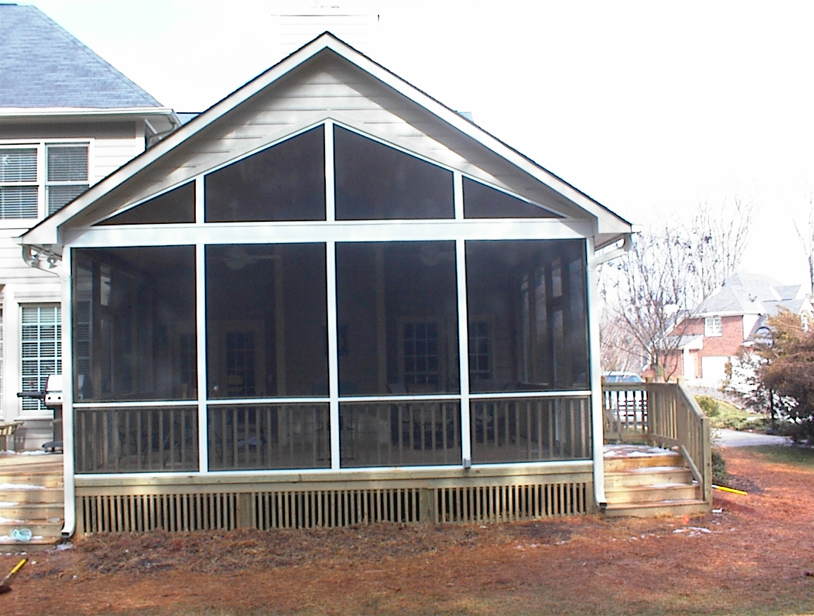 Harrisburg nc room addition sunroom screen porch artisans for Gable roof addition